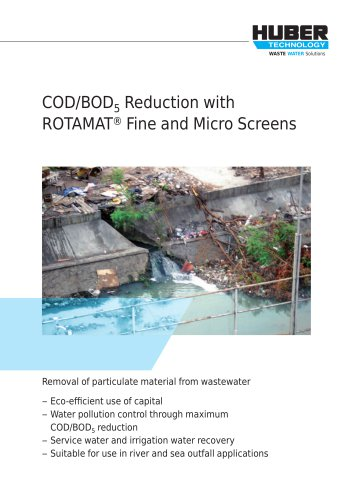COD/BOD5 Reduction with ROTAMAT® Fine and Micro Screens
