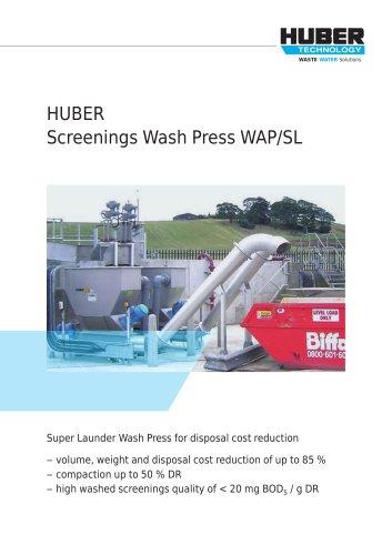 HUBER Screenings Wash Press WAP/SL