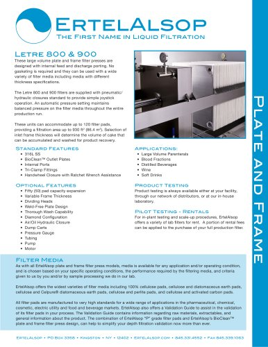 Letre 800 and 900 Plate and Frame Filter