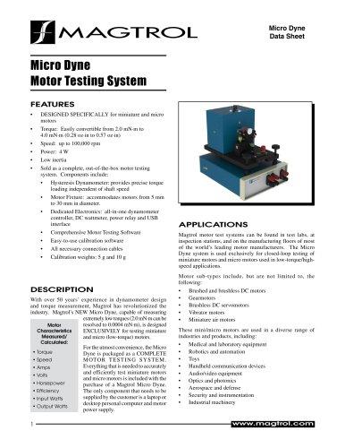 Micro Dyne Motor Testing System