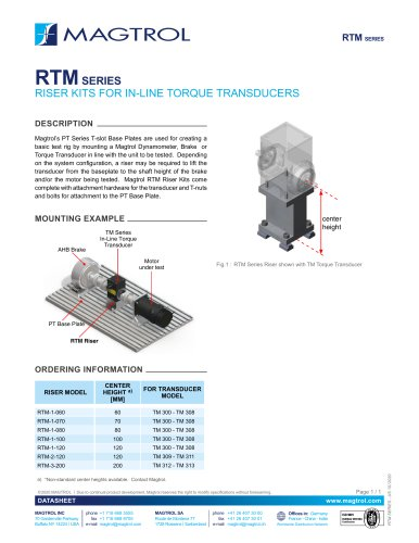 RTM Series Riser Kits for In-line Torque Transducers