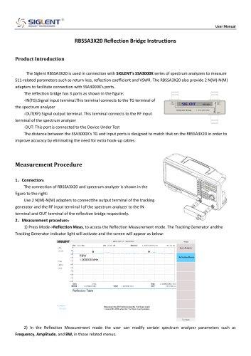 Siglent RBSSA3X20 Reflection Bridge Instructions