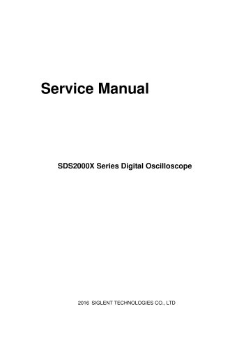 Siglent SDS2000X Service Manual