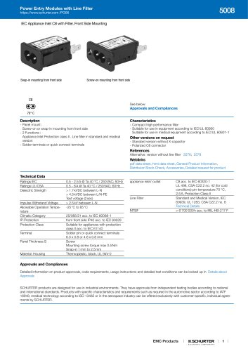 Power Entry Modules with Line Filter 5008
