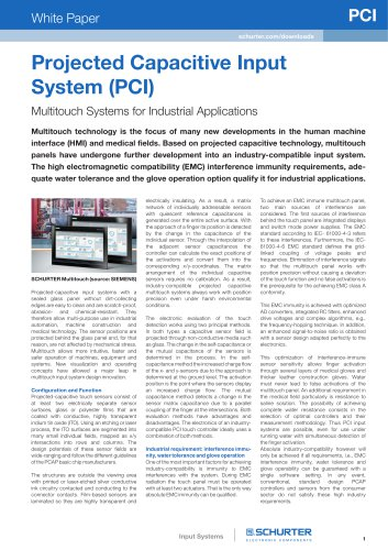 SCHURTER White Paper: Multitouch Systems for Industrial Applications