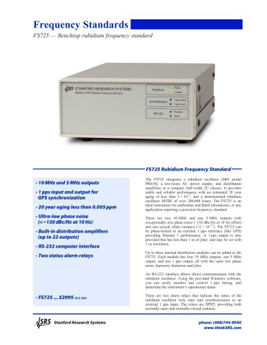 FS725 — Benchtop rubidium frequency standard