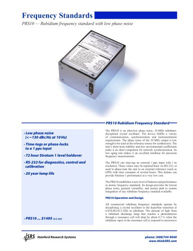 PRS10 — Rubidium frequency standard with low phase noise