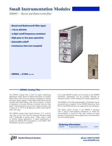 SIM965Analog Filter
