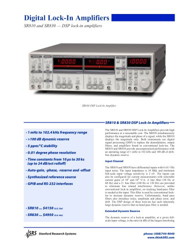 SR810/830DSP Lock-In Amplifiers