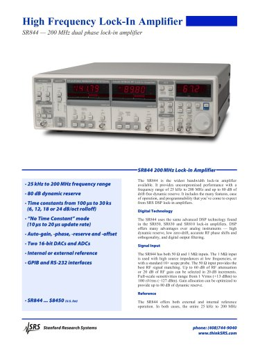 SR844 — 200 MHz dual phase lock-in amplifier