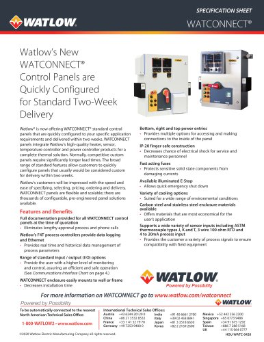 WATCONNECT® Specification Sheet