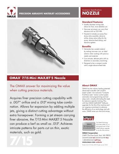 OMAX® 7/15 Mini Maxjet®5 Nozzle