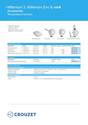 Millenium 3, Millenium Evo & em4 Accessories Temperature sensors