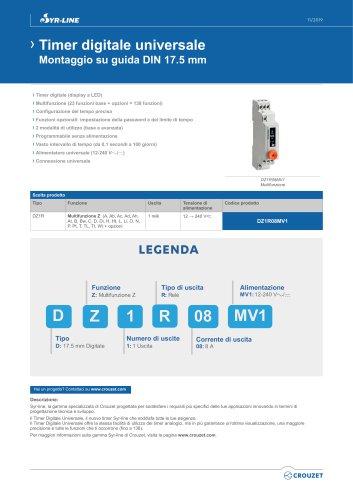 Timer digitale universale Montaggio su guida DIN 17.5 mm
