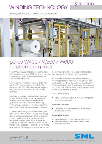 winder series W400 / W500 / W600 calendering
