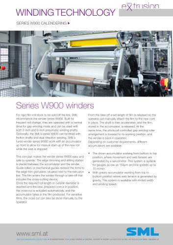 winder series W900 calendering