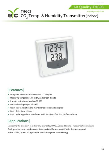 eYc THG03 CO2 Temperature & Humidity Transmitter / Indoor type