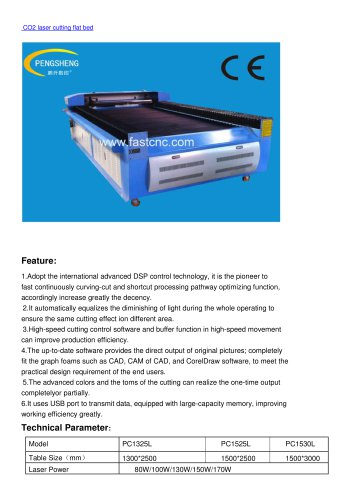 CO2 laser cutting flat bed