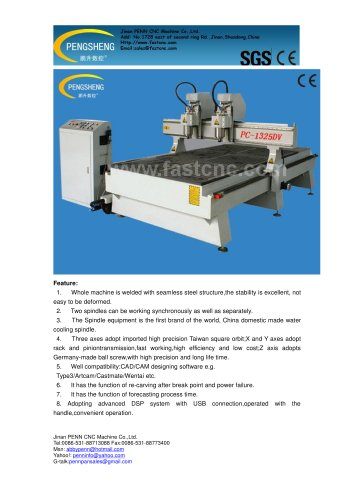 PENN PC-1325DV double heads cnc router for wood