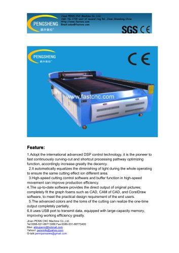 PENN PC-1325L CO2 laser cutting machine for leather engraving and cutting