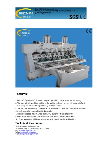 PENN PC-210C cylinder cnc router for cylinder
