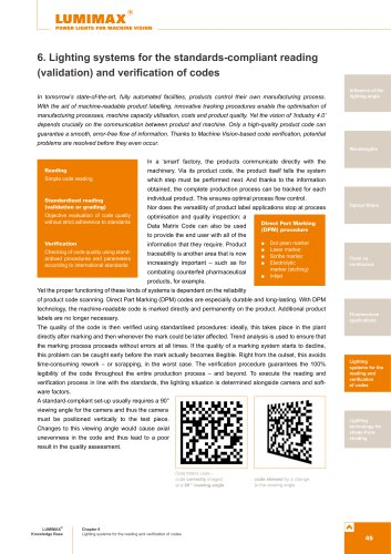 Brochure for standard-complaint reading and verification of codes