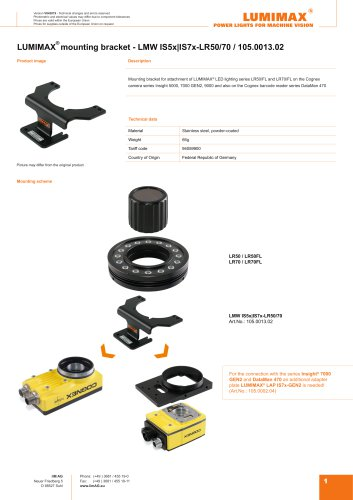 LUMIMAX mounting bracket for Cognex IS5-IS7x