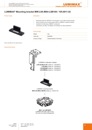 LUMIMAX mounting bracket for MS4-LSB100
