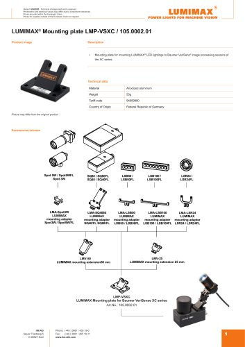 LUMIMAX Mounting Plate for Baumer VeriSens XC-Serie
