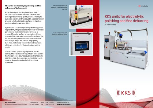 KKS units for electrolytic polishing and fine deburring of bulk matieral
