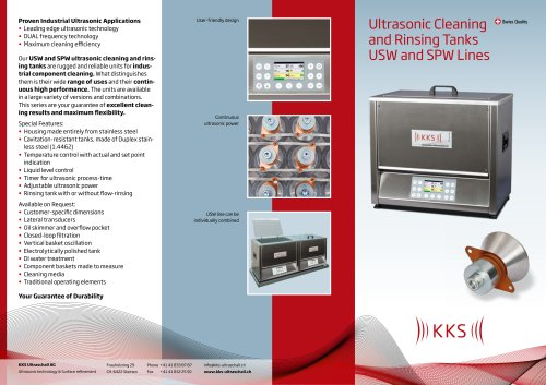Ultrasonic Cleaning and Rinsing Tanks USW and SPW Lines