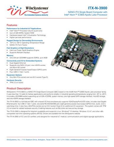 NANO-ITX SINGLE BOARD COMPUTER WITH INTEL E3900 PROCESSOR
