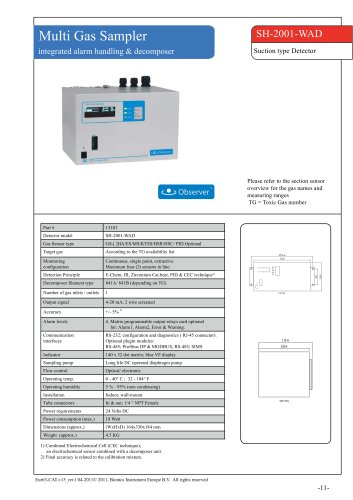 SH-2001-WAD - multi gas - suction type gas detector