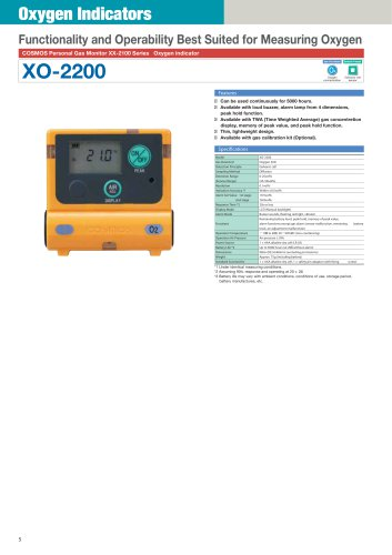 XO-2200 - diffusion type personal gas monitor for Oxygen