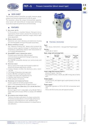 FKP - Pressure transmitter (direct mount type)