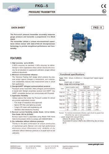 process transmitter FKG series