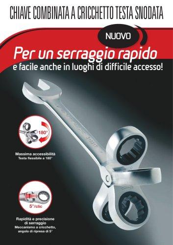 Set di 7 chiavi a cricchetto testa snodata 8-17 mm