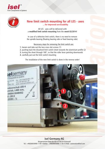 New limit switch mounting for all LES - axes