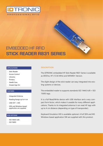 RFID Embedded Modules | HF Stick Reader R831 Series