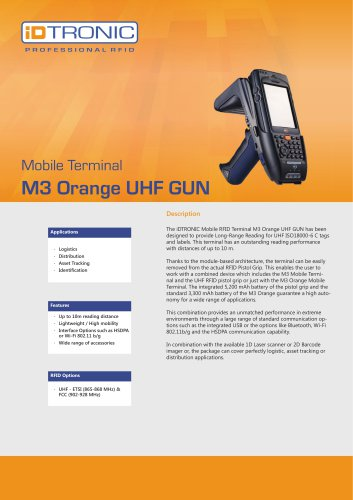 RFID Handheld Computers | M3 Orange Plus UHF GUN