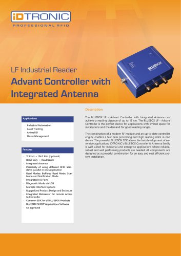 RFID Industrial Readers | BLUEBOX Advant Controller with integrated Antenna
