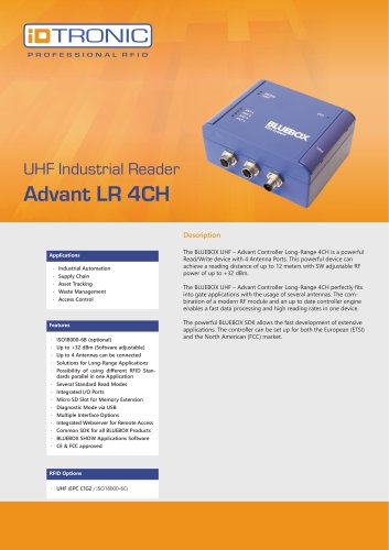 RFID Industrial Readers | BLUEBOX Advant LR 4CH