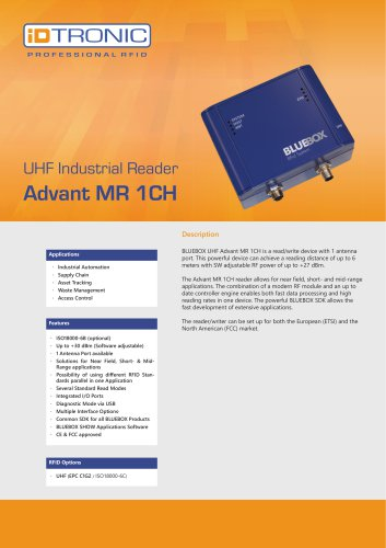 RFID Industrial Readers | BLUEBOX Advant MR 1CH