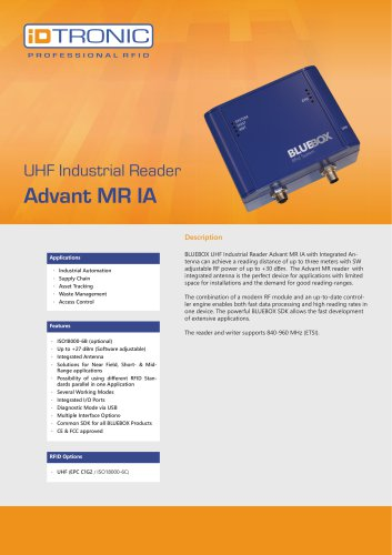 RFID Industrial Readers | BLUEBOX Advant MR IA