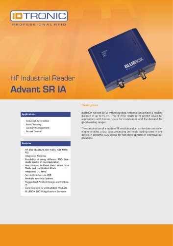 RFID Industrial Readers | BLUEBOX Advant SR IA