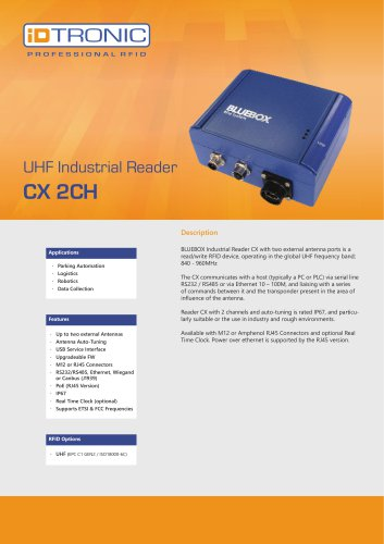 RFID Industrial Readers | BLUEBOX CX LR 2CH