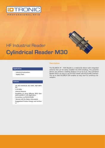 RFID Industrial Readers | BLUEBOX Cylindrical Reader M30 HF