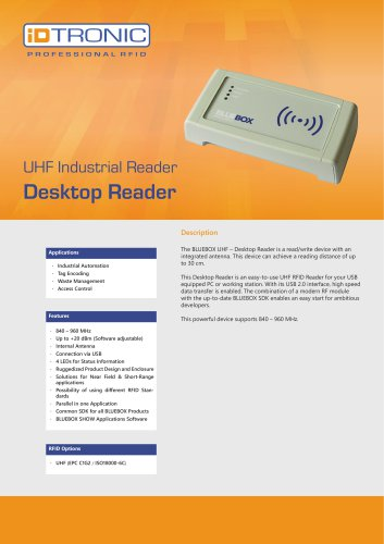 RFID Industrial Readers | BLUEBOX Desktop Reader UHF