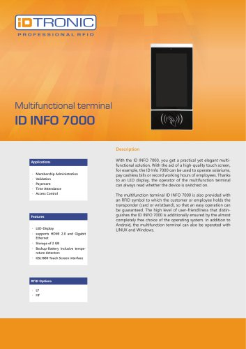 RFID Readers | Multifunctional Terminal ID Info 7000