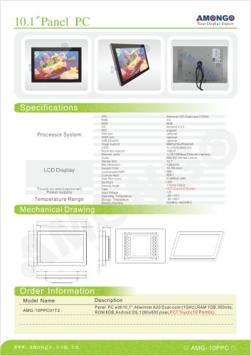 """Amongo 10.1"""" Touch Screen panel pc all in one 1280x800 pixels(AMG-10PPC01T2)"""